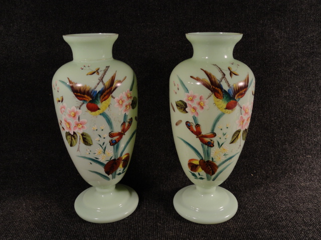 Pair of Exquisite Green Bristol Glass Hand Painted Vases 1800s