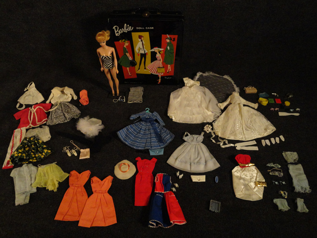 Vintage 1958 Ponytail Barbie #4 in Case with Huge Lot of 87 Clothes and Accessories