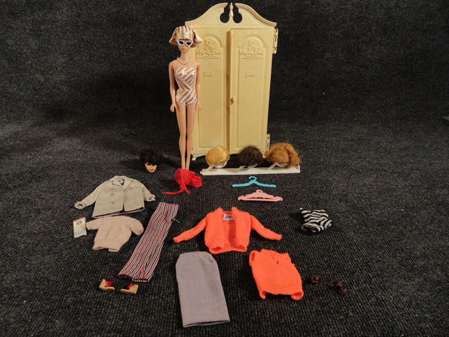 Vintage Lot of Barbie with Midge Fashion Queen 1962 and Ken 1960 and Extra Brunette Barbie Head and Extra Clothes