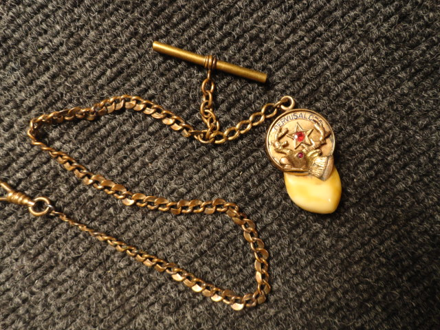 Antique Elks BPOE 10k Solid Gold Pocket Watch Fob & Chain Real Elks Tooth