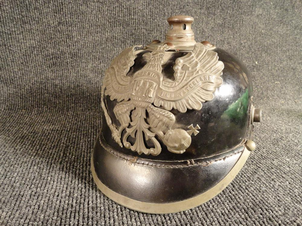 1918 Prussian Leather Pickelhaube German Soldier Helmet Original WWI Excellent Condition