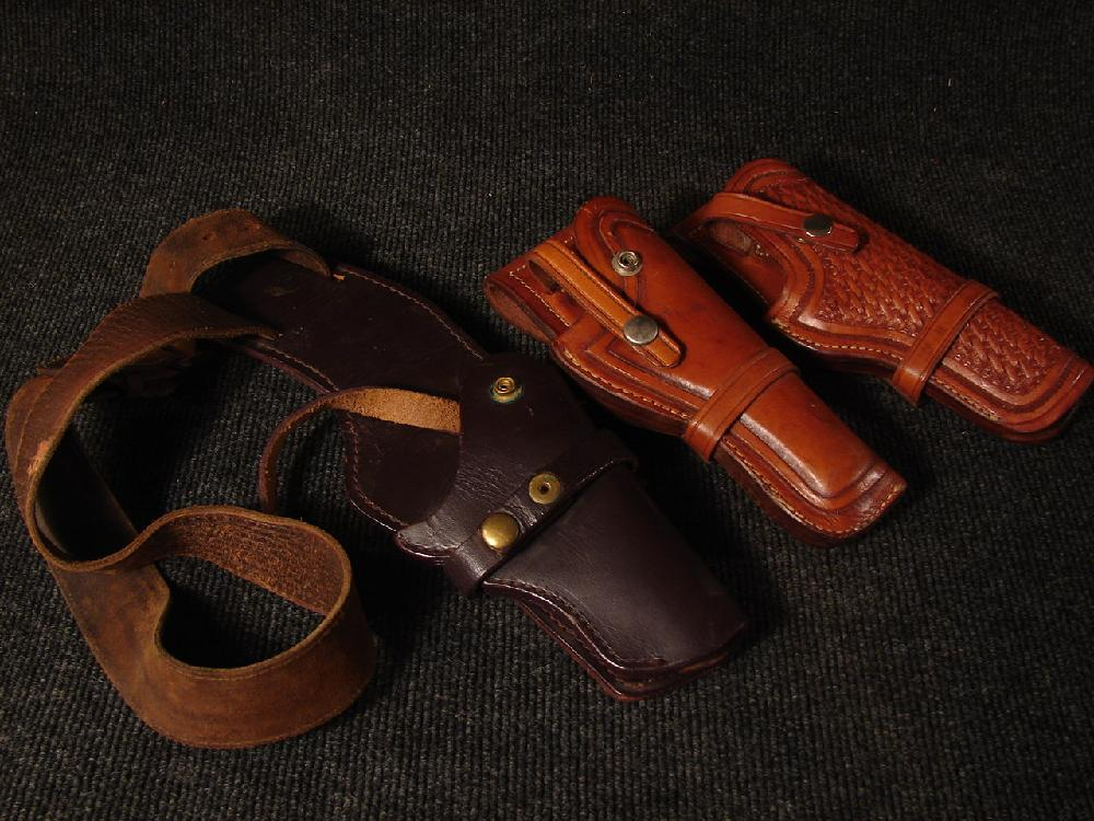 3 Vintage Leather Gun Holsters  2 Browning