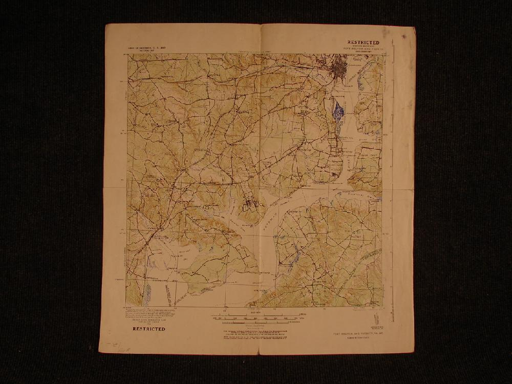 1924 Military Map restricted ,Secret. Fort Belvoir near Alexandria VA and Maryland