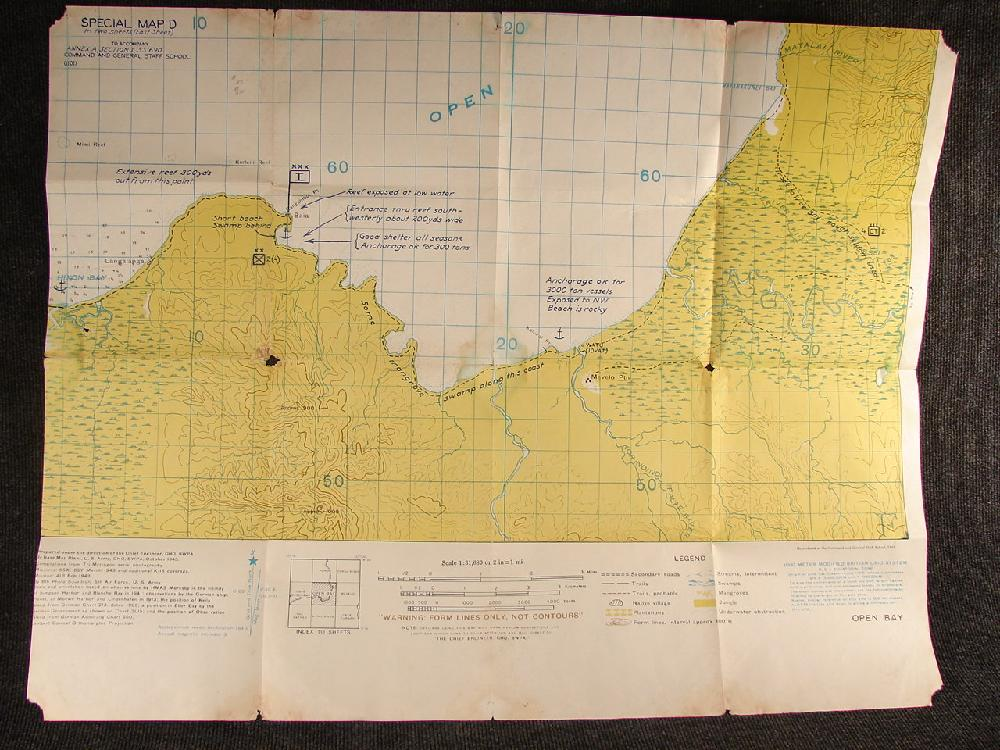 1943 WWII Military Situation Map, Papua New Guinea Open Bay. Command and General Staff School