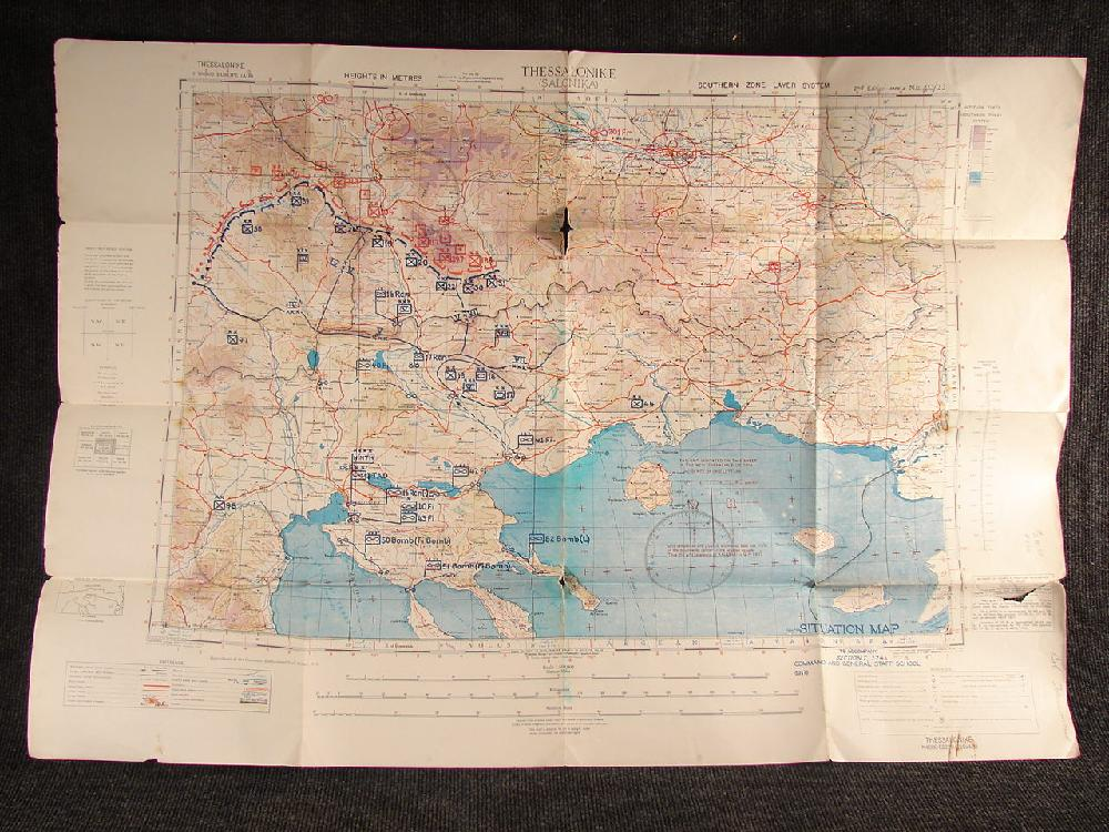 1943 WWII Military Situation Map, Thessalonike  Salonika Greece. Signed Col. Hammond Bomb Targets.