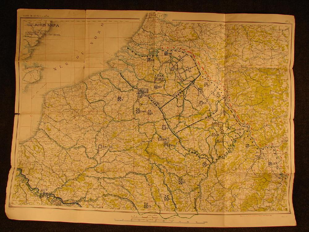 1935 WWII Situation Map ? Carte De France on water Mer Du Nord. General Staff school