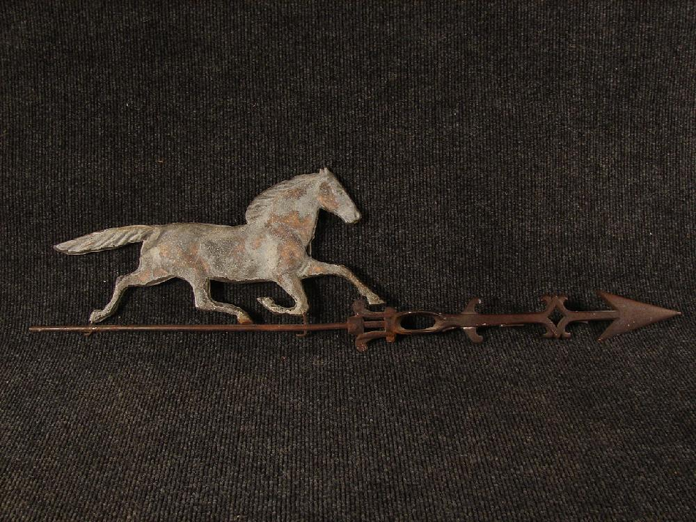 Antique 1800s Horse Weather Vane Copper and Iron Nice Patina