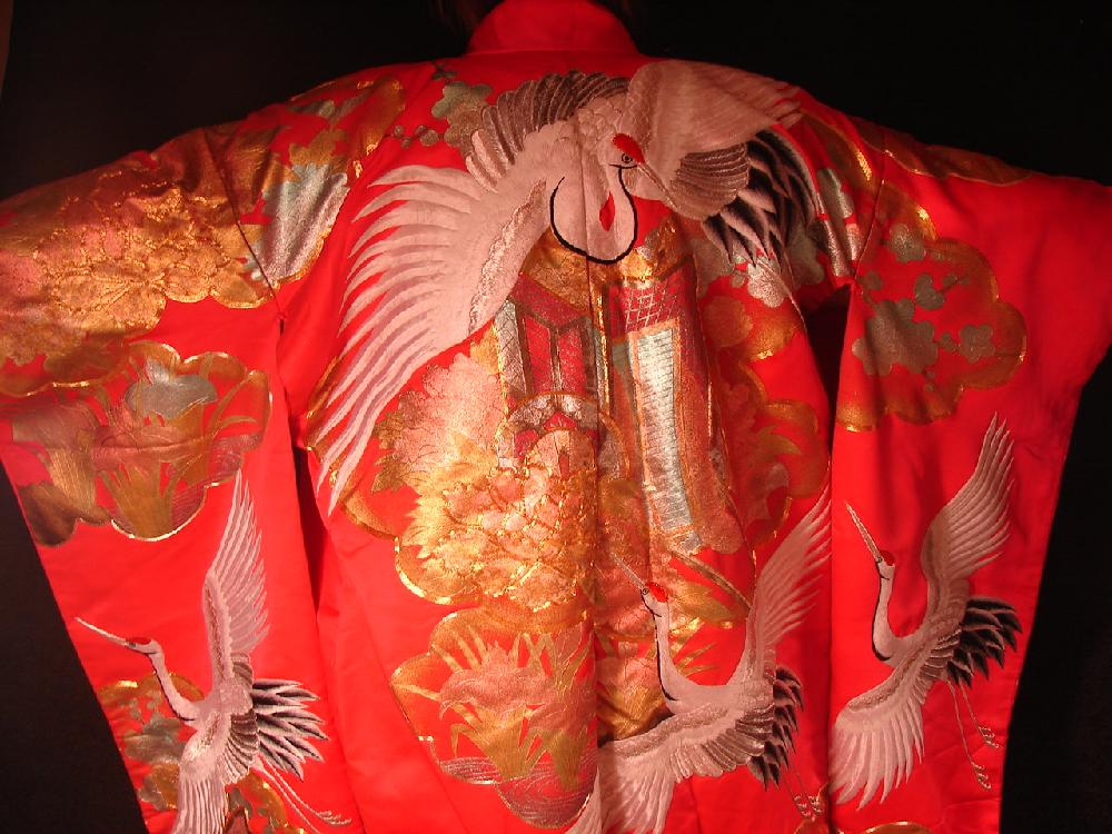 Fantastic Japanese Vintage Silk Kimono Embroidered Flowers and Cranes Gold and Red