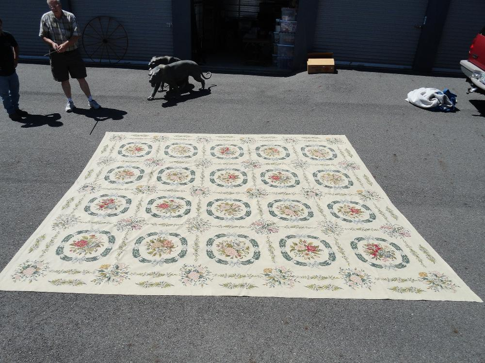 "Antique French Handmade needlepoint rug 11'-4"" by 12'-8"" beautiful floral pattern"