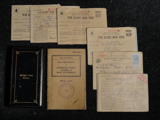 WWII War Department Basic Field Manual Automatic Pistol Caliber .45 M1911 M1911A1 Colt 1911 14th Tank Destroyer Group File Copy + Bronze Star and Ration books