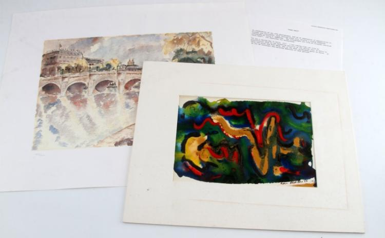 L REDSTONE ABSTRACT PAINTING & LIMITED ED PRINT