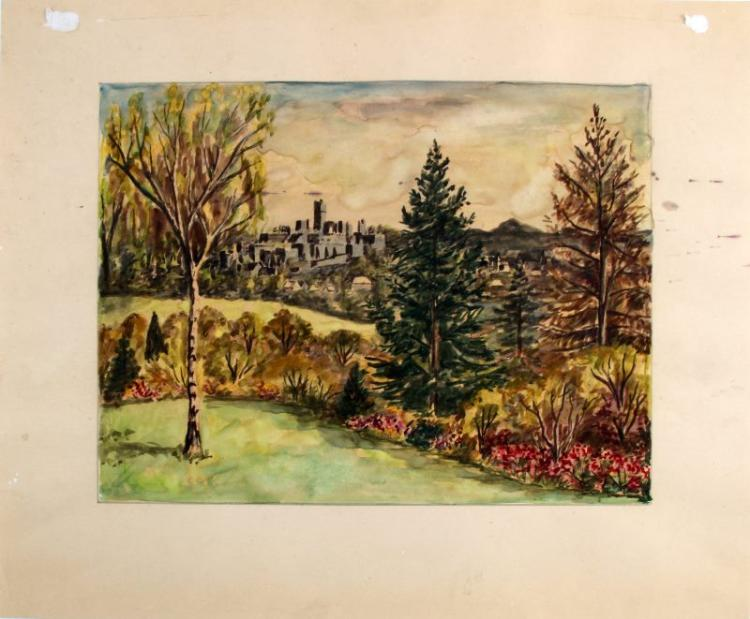 UNSIGNED LOUIS REDSTONE WATERCOLOR LANDSCAPE