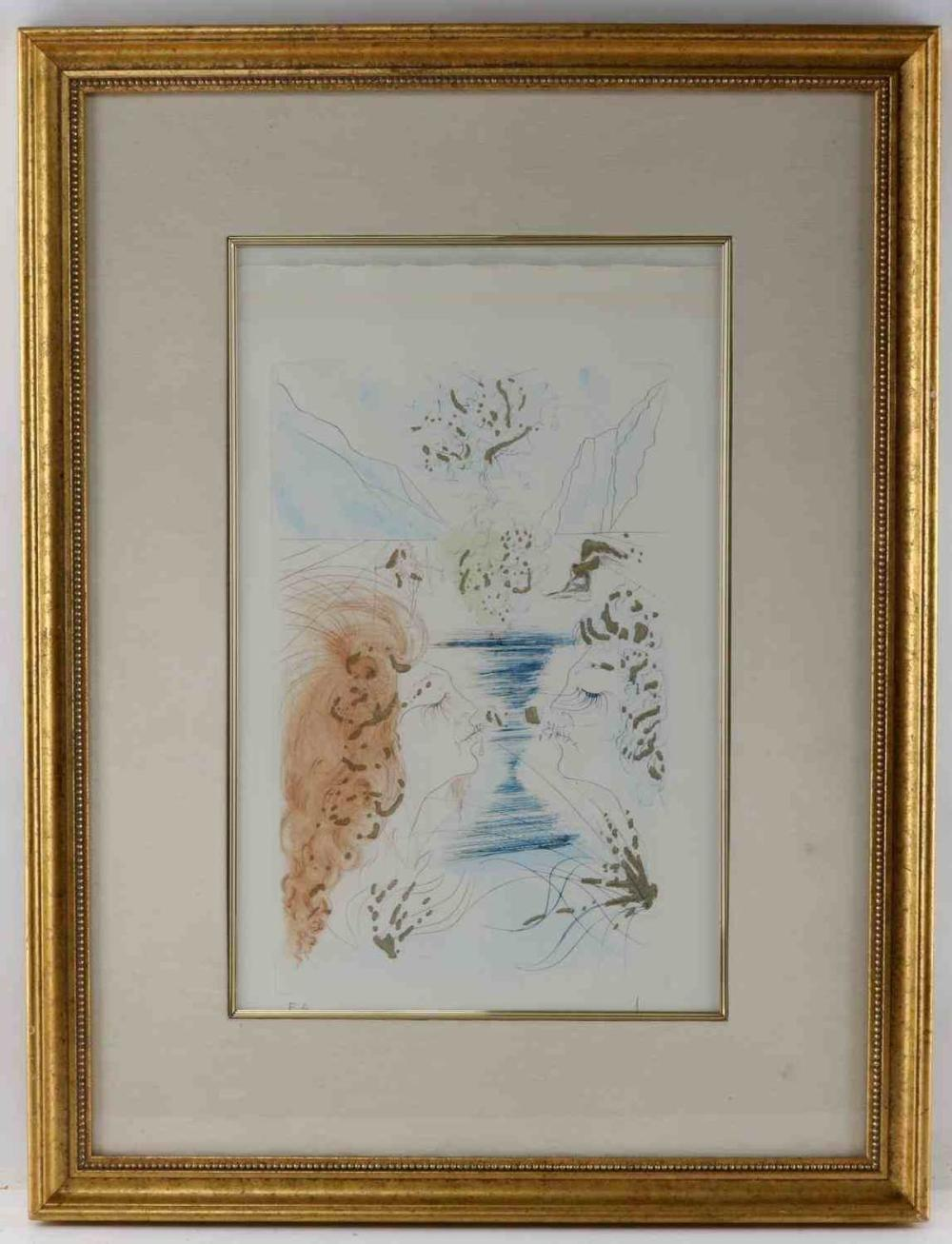 SALVADOR DALI THE KISS COLORED DRYPOINT SIGNED