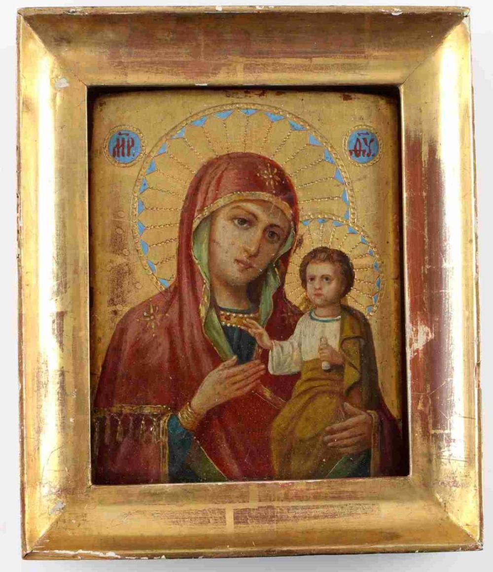 ANTIQUE RUSSIAN ICON OF IVERSKAYA MOTHER OF GOD