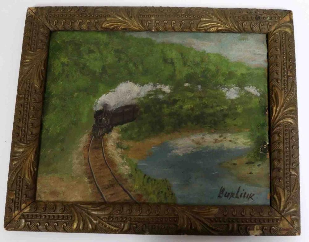DAVID BURLIUK OIL ON BOARD LANDSCAPE W TRAIN