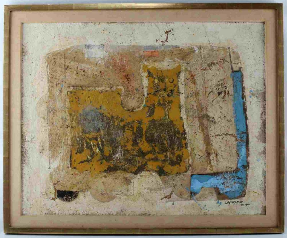 JOSE LAPAYESE DEL RIO YELLOW CAT PAINTING ON BOARD