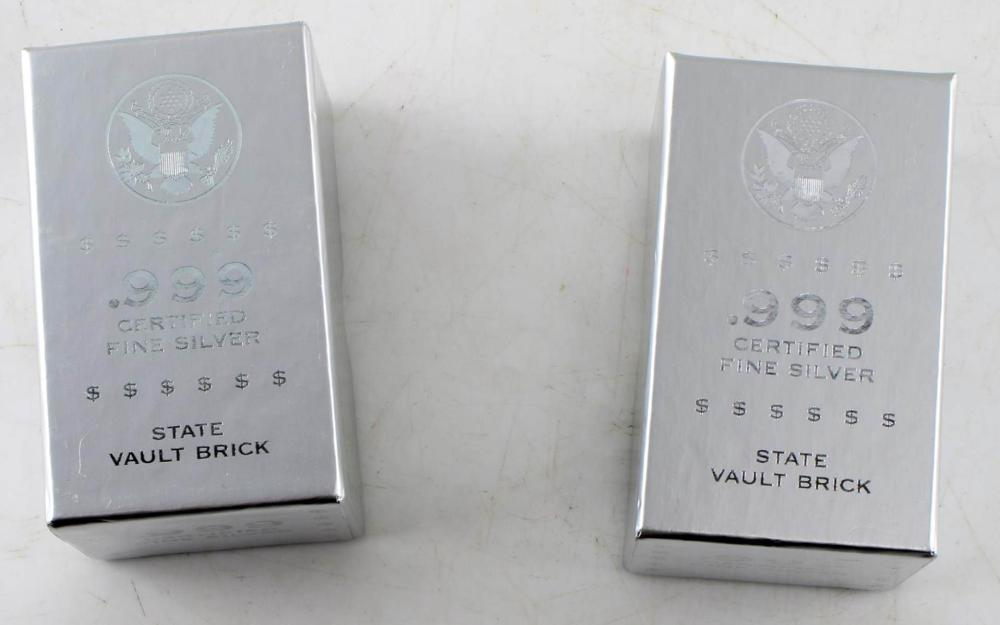 .999 FINE SILVER STATE VAULT BRICK LOT OF 10 OZT