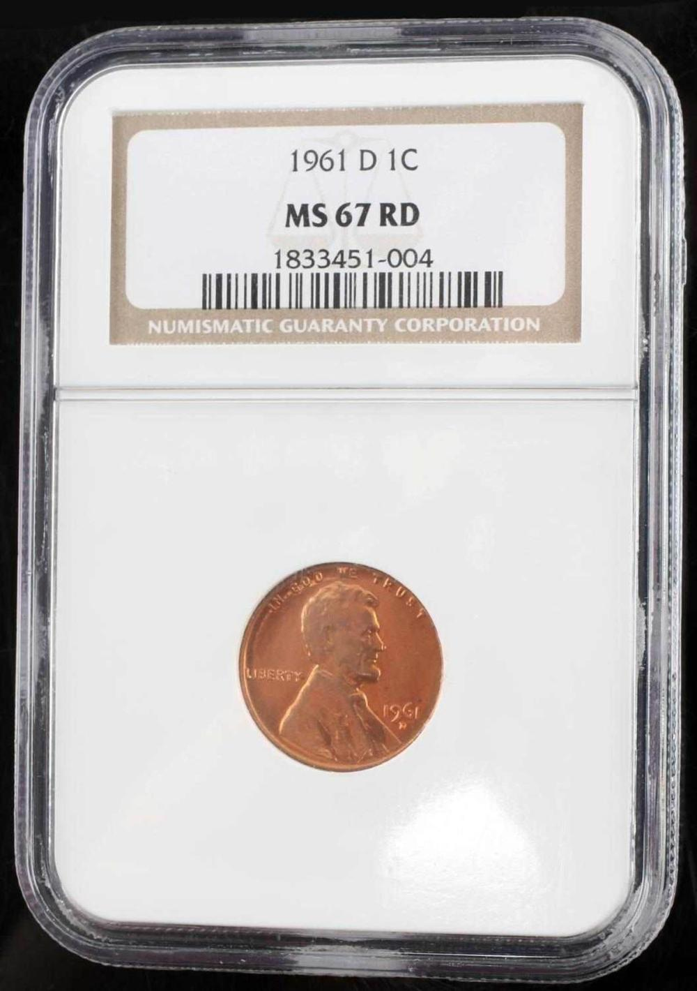 1961 D LINCOLN MEMORIAL CENT PCGS MS 67 RD