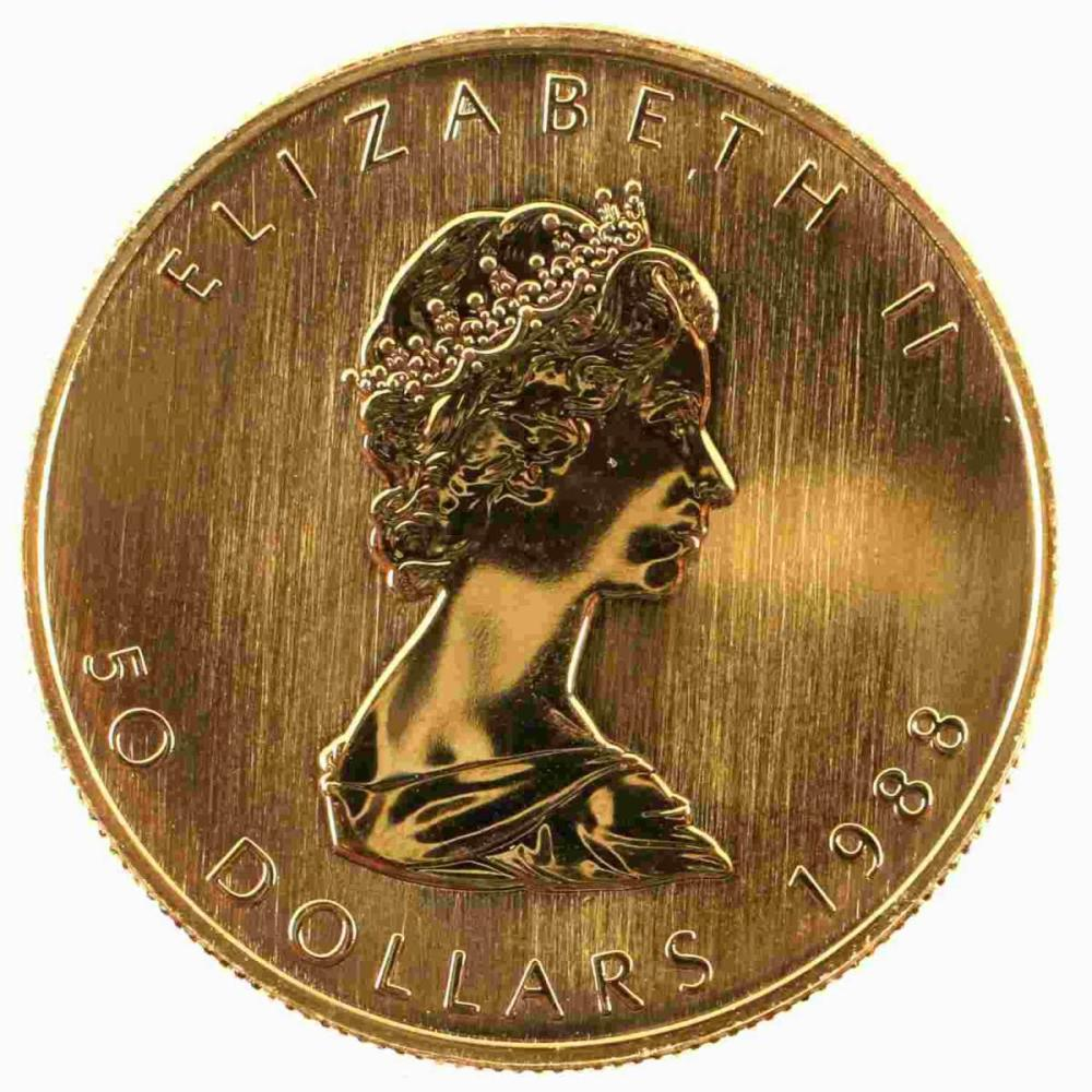 1988 CANADIAN $50 GOLD MAPLE LEAF COIN 1 OZT