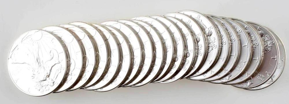 AMERICAN SILVER EAGLE MINT TUBE LOT OF 20 2013