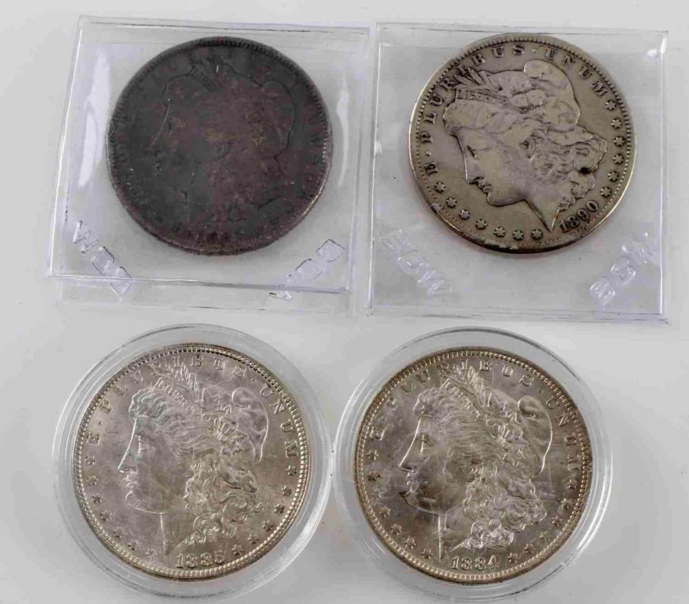 MORGAN SILVER DOLLAR COIN LOT 1890 CC 1901 & 2 BU
