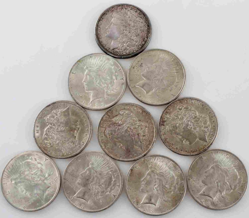 LOT OF 10 XF TO BU MORGAN AND PEACE SILVER DOLLARS