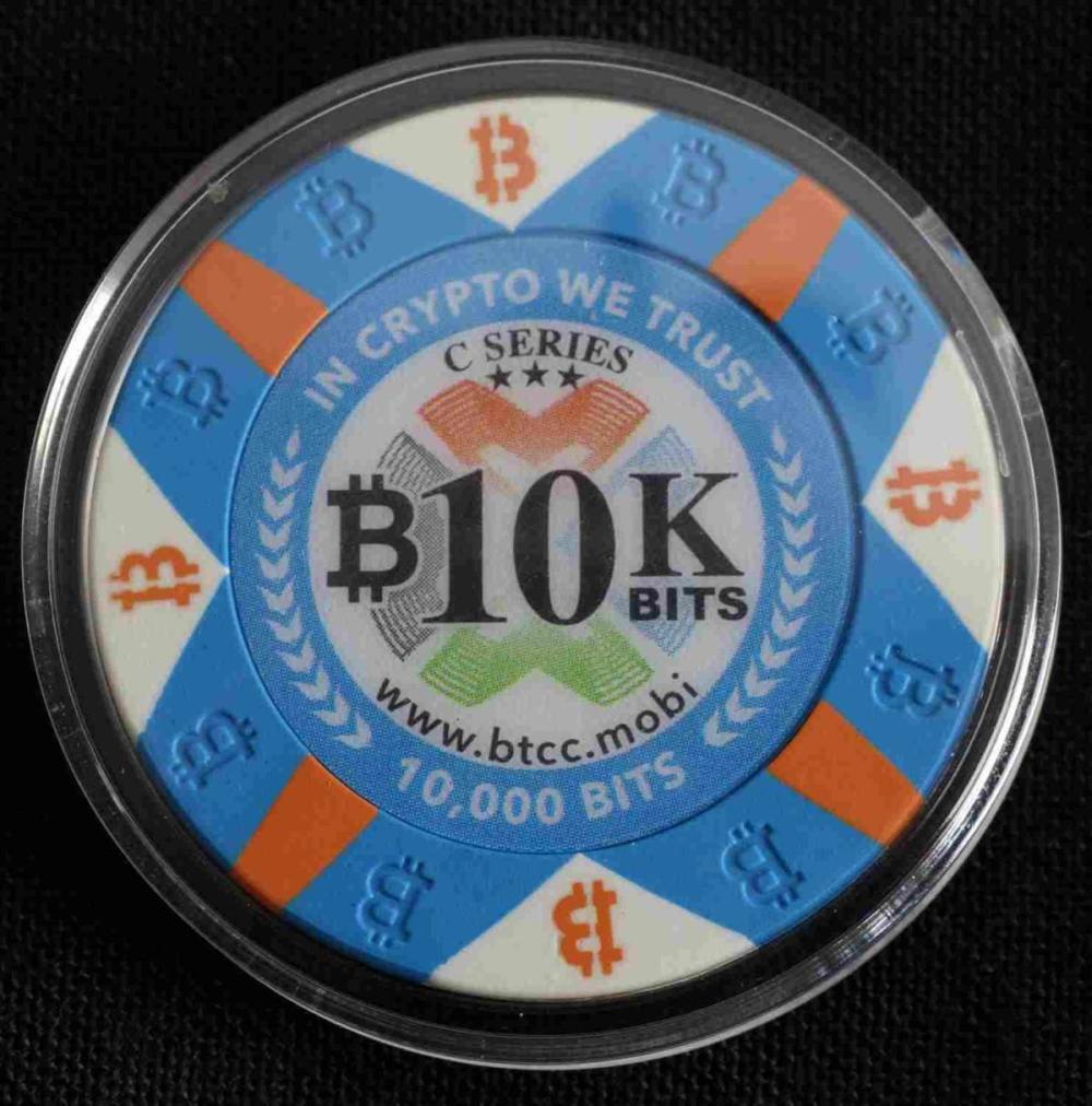 BITCOIN POKER CHIP 10K BITS BTCC LOADED CHIP