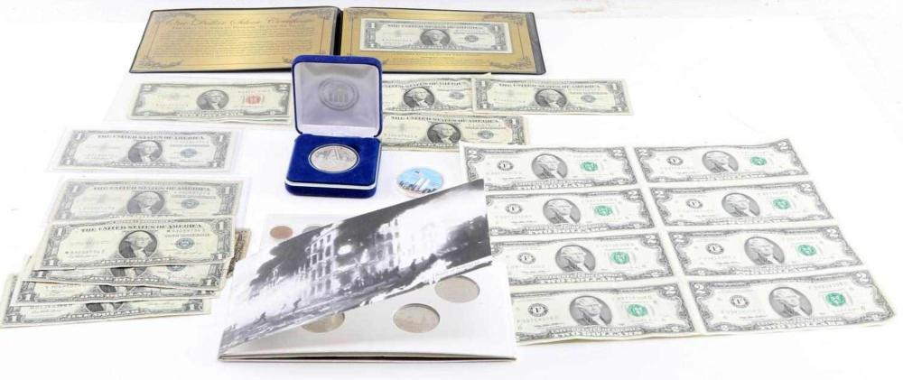 COIN CURRENCY LOT SILVER COMMEMORATIVE UNCUT NOTE