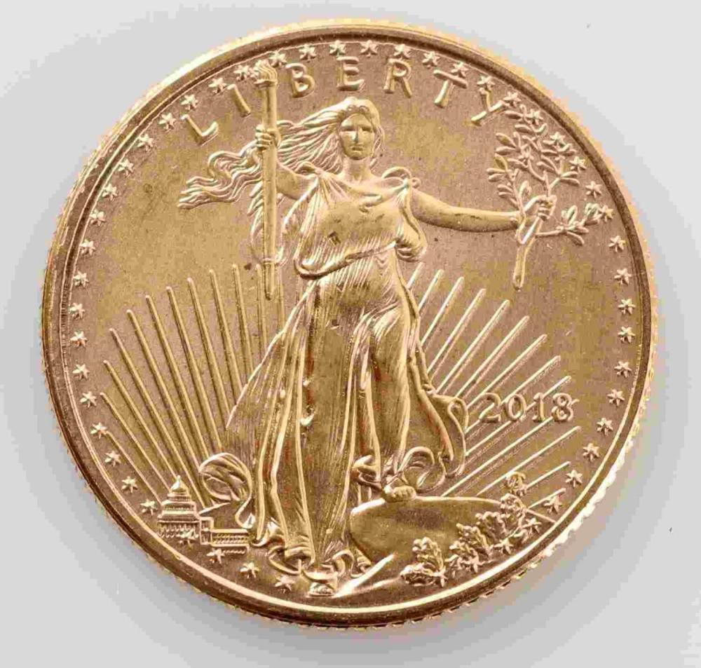 2018 GOLD AMERICAN EAGLE 1/10 OZT COIN