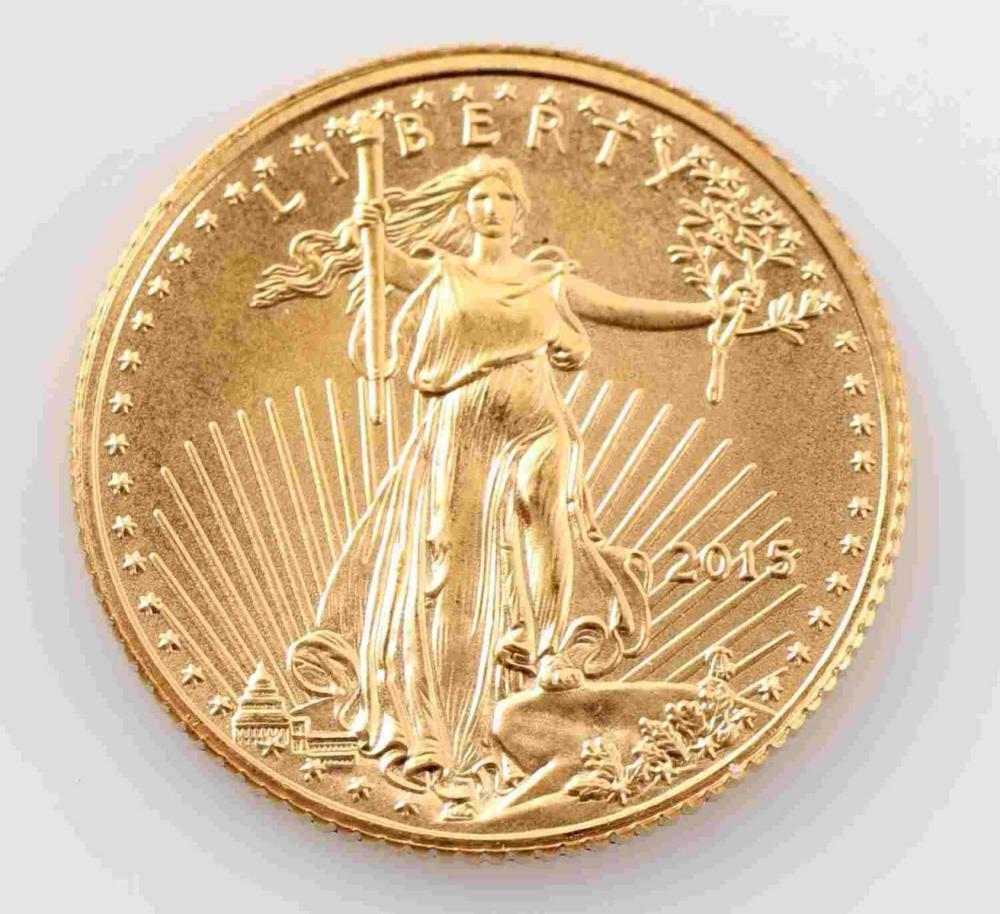 2015 GOLD AMERICAN EAGLE 1/10 OZT BU COIN