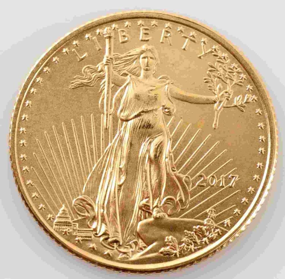 2017 GOLD AMERICAN EAGLE 1/10 OZT BU COIN