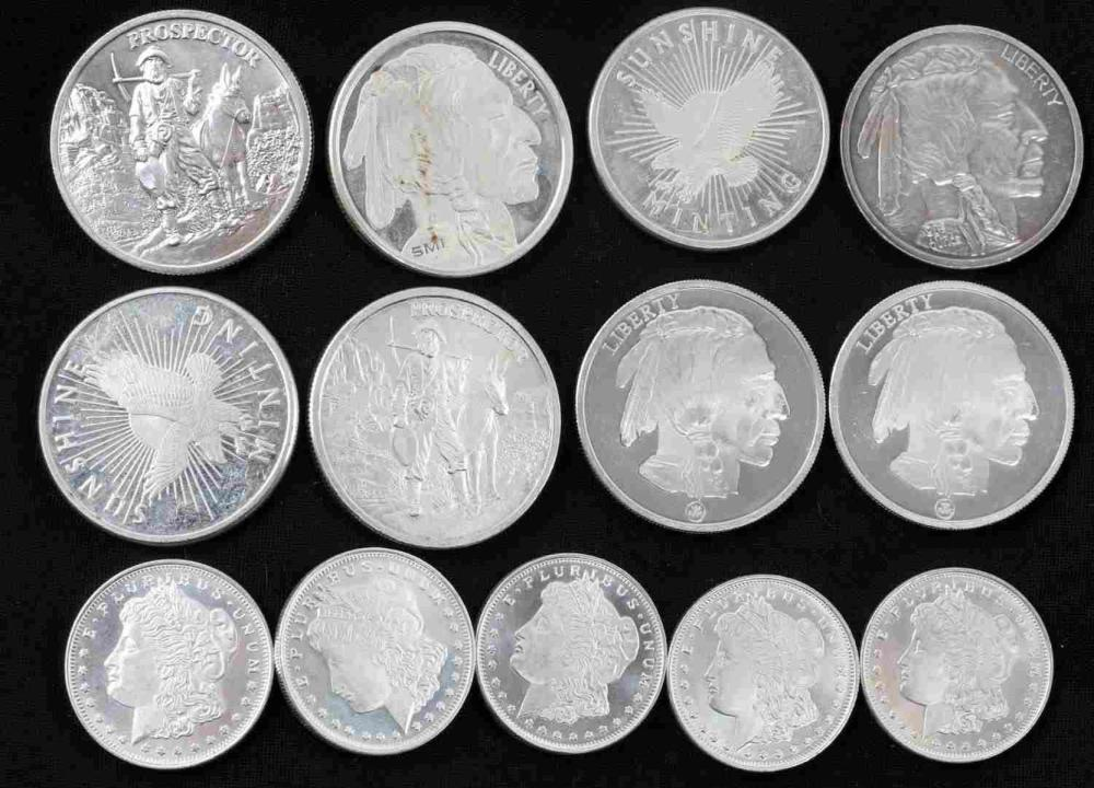 13 .999 FINE SILVER ROUNDS 8 10 OZ AND 5 1/2 OZ
