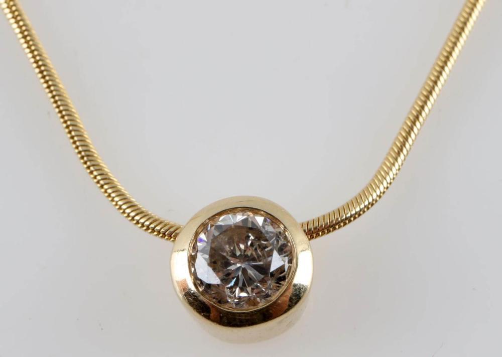 14K GOLD NECKLACE W .46 CARAT DIAMOND PENDANT