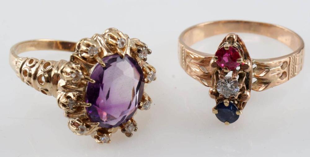 LOT TWO 10K VINTAGE ESTATE WOMENS RINGS DIAMOND