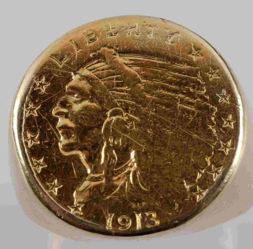 MENS 2.5 DOLLAR INDIAN GOLD COIN SIZE 9.5 RING
