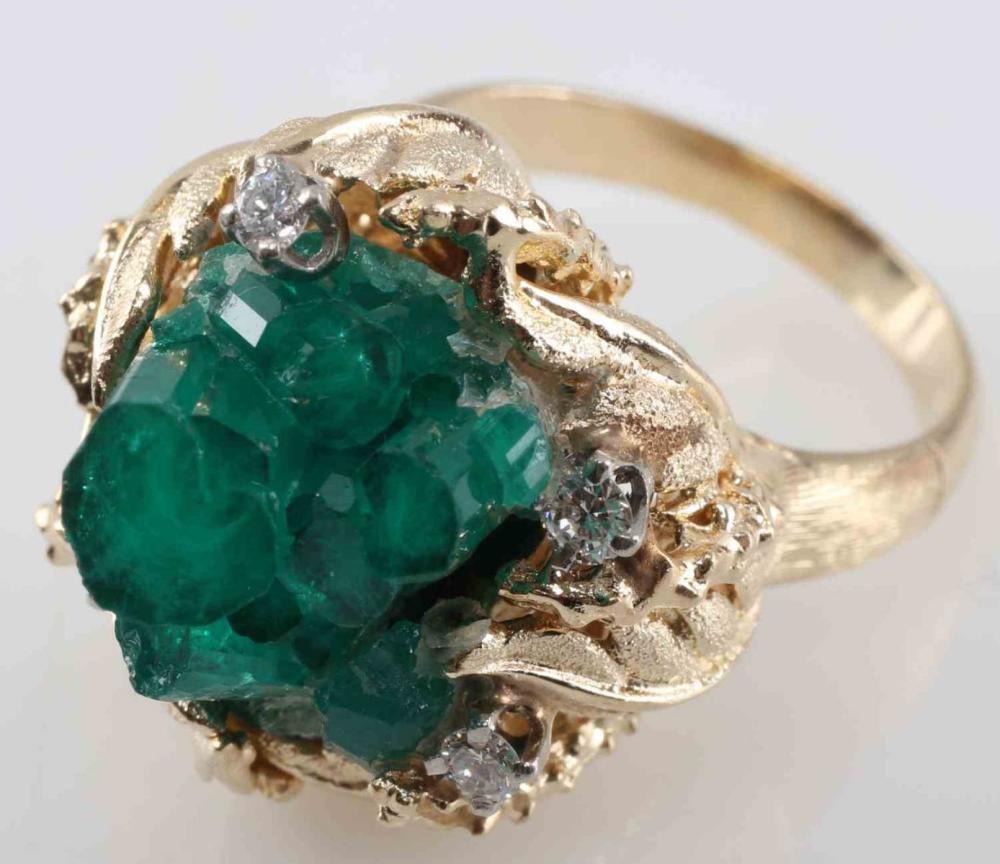 GOLD DIAMOND & RAW EMERALD CRYSTAL FORMATION RING