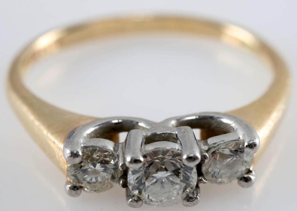 WOMENS YELLOW & WHITE GOLD .43 TCW DIAMOND RING