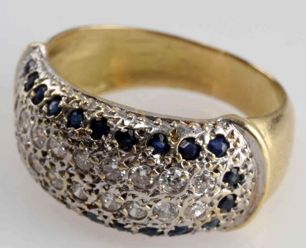 14K GOLD ESTATE DIAMOND AND SAPPHIRE RING 4 GRAMS