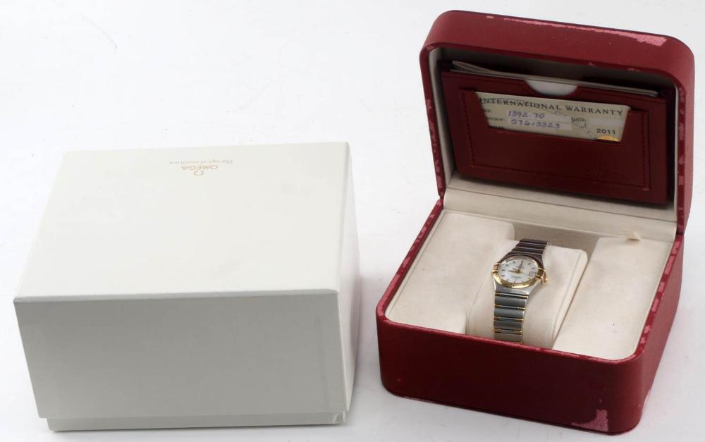 LADIES OMEGA CONSTELLATION 18 KT AND STEEL WATCH