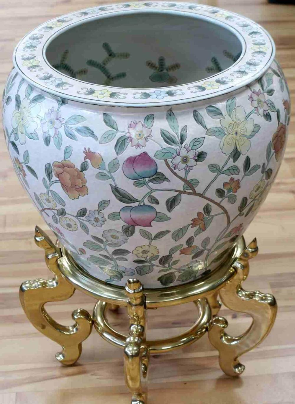 LARGE VINTAGE CHINESE LACQUERED FISH BOWL W STAND
