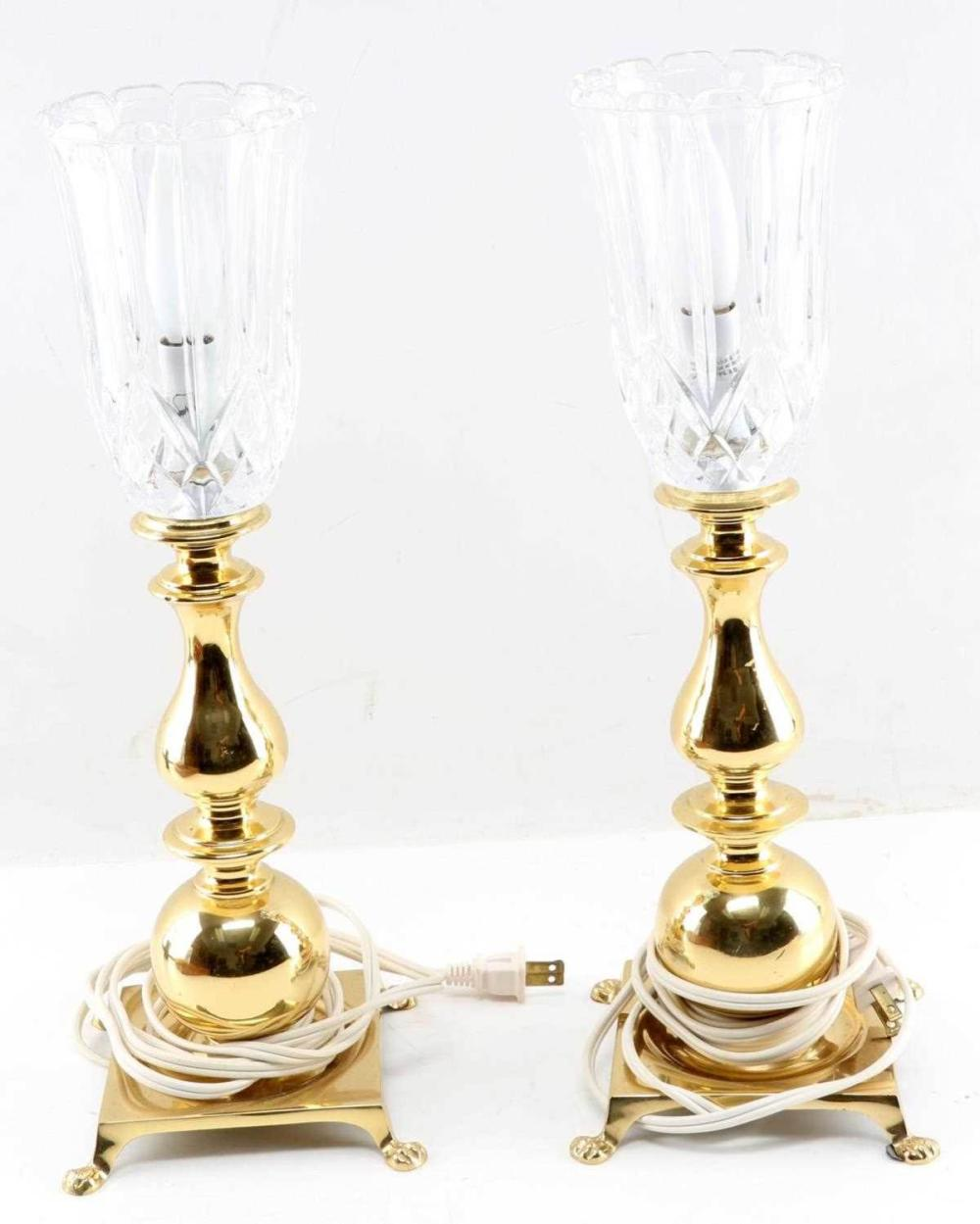 PAIR OF WATERFORD CRYSTAL LAMPS W GOLD TONE BASE