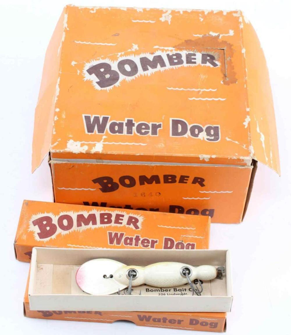 NEW OLD STOCK 10 BOMBER WATER DOG ANTIQUE LURES