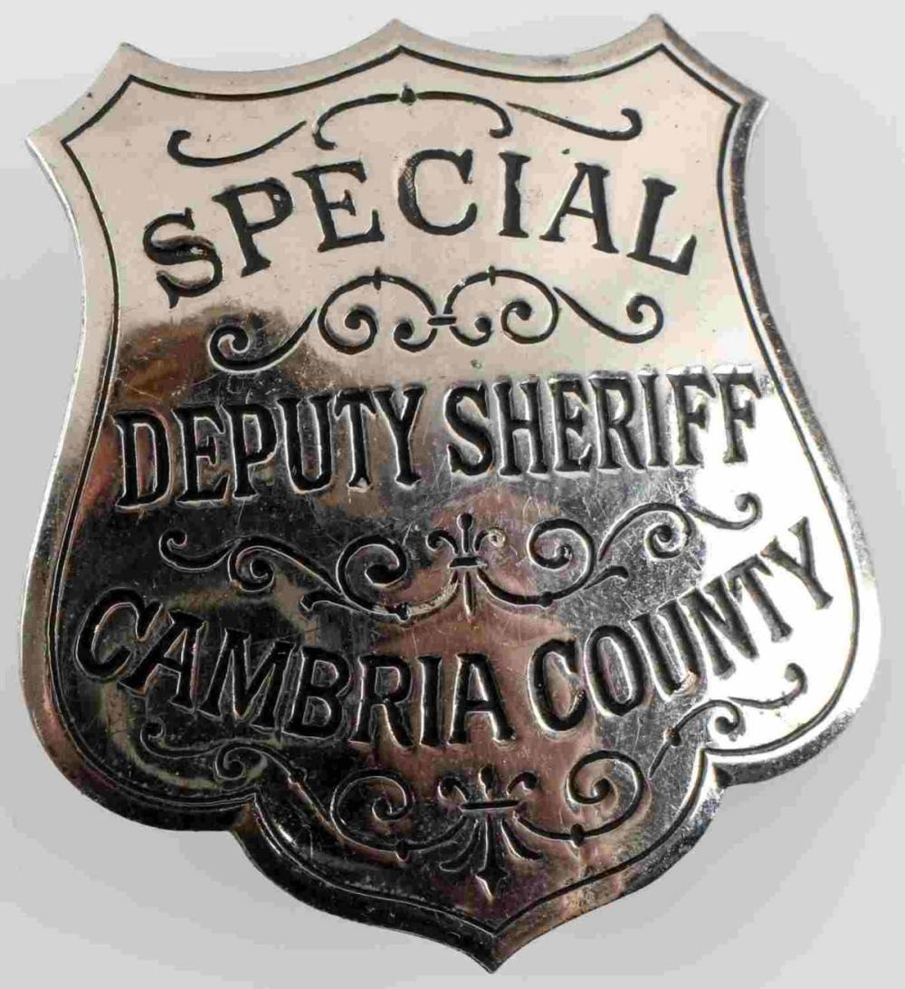1937 CAMBRIA COUNTY DEPUTY SHERFF BADGE JOHNSTOWN