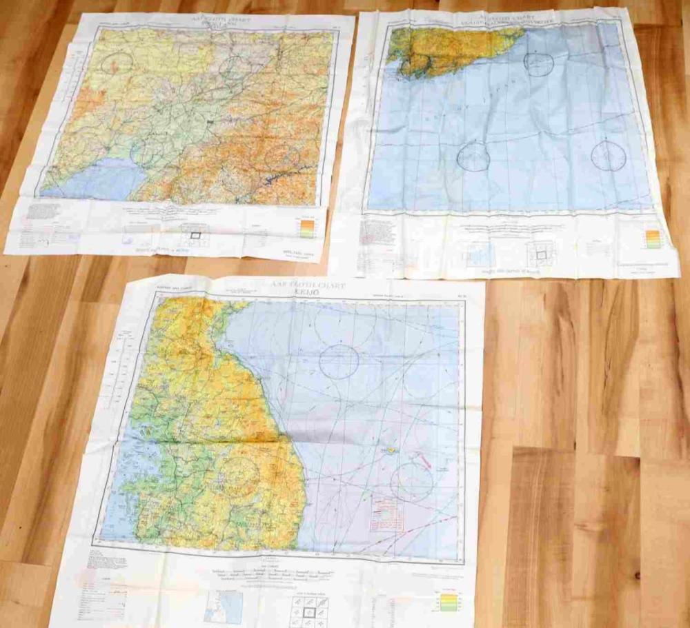 4 WWII AAF CBI EVASION SILK PILOT MAPS VLADIVOSTOK