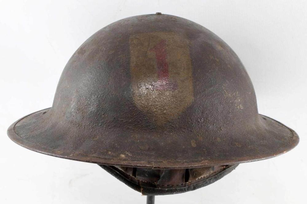 WWI AEF US FIRST DIVISION PAINTED BRODIE HELMET