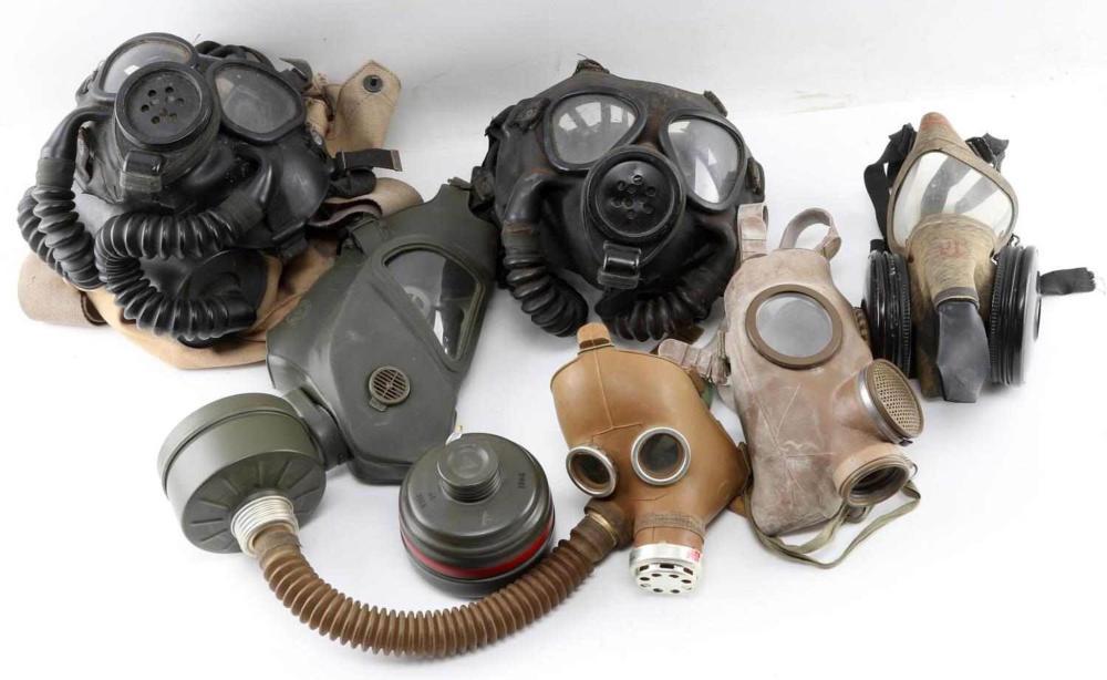WWII AND POSTWAR USN GERMAN GAS MASKS RESPIRATORS
