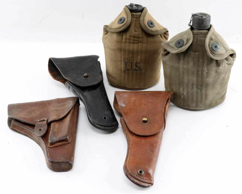 2 1911 1 WWII TOKAREV HOLSTERS 2 US ARMY CANTEENS