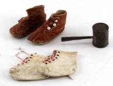 2 PAIR OF ANTIQUE BABY SHOES & 1 TOY RATTLE LOT