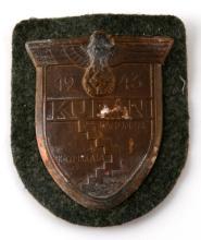 WWII GERMAN THIRD REICH WEHRMACHT KUBAN SHIELD