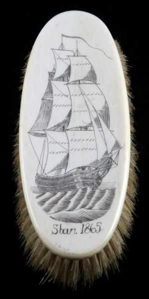 ANTIQUE WALRUS SCRIMSHAW BRUSH W CLIPPER SHIP
